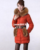 Wholesale New Arrived Winter Thick Extra Large Fur Collar Down Coat White Duck Feather Women s Medium long Down Jacket Outerwear