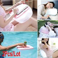 100% Polypropylene Cotton Column 2Pcs Lot Multifunction Inflatable Pillow Cushion Folding Air Desk Table 3Colors 18899