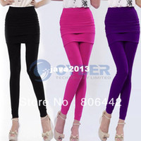 Leggings Skinny,Slim Women Wholesale - Women Ladies Hot Sexy Nylon Full Skirt Footless Stretch Seamless Long Pants Legging