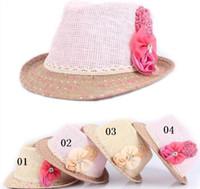 Girl Summer Crochet Hats 2014 new Baby Flower Caps Baby Hat Kids Straw Fedora Hat Girls Sun Hat Children Summer Hat Jazz Cap 1-6T 10pcs lot
