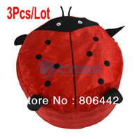 Wholesale 3Pcs Cute Cartoon Ladybug Villus Inflatable Stools Pouf Chair Seat Bedroom Red Pump