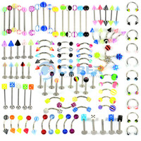Cheap Hot Sale 105PCS Body Jewelry Piercing Eyebrow Navel Belly Tongue Lip Bar Ring 21Styles 18519