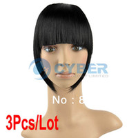 Wholesale Cheap Women Straight Clip on Front Neat Bang In Fringe Hair Piece Extension Black