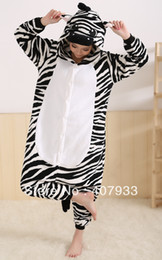 Wholesale Zebra cosplay sleepwear Zebra Kigurumi lovely Zebra unisex Winter Animal Pyjamas costume Sleepwear retail