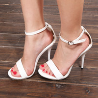 Wholesale High heel sandals waterproof leather strap with pure white fine