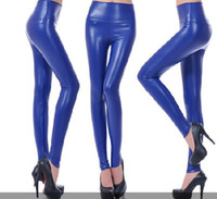 Wholesale 200pc Punk style High waist abdomen drawing elastic faux leather tight pencil leather pants J75