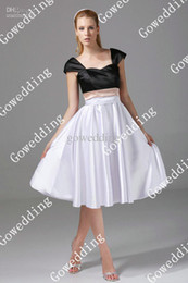 Wholesale Elegant black Off the shoulder pink sash white satin A line formal bridesmaid prom dresses D484