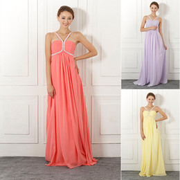 Wholesale Cheap Fashion Beaded V neck Pleated Empire Long Evening Dress Chiffon Floor Length A line Zipper In Stock Prom Dresses Gowns