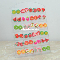 Cheap Wholesale - Fashion Cute Young Polymer clay Stud Earrings Glue needle Not allergic fruit style Free 0 E421