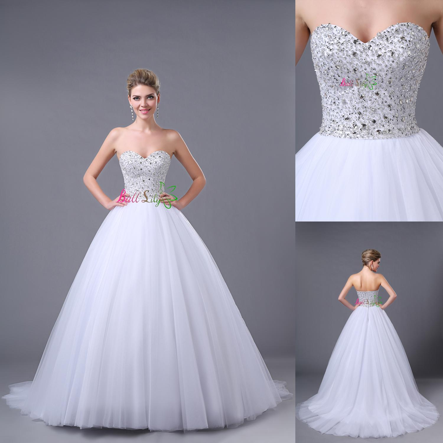 2014 Modern Ball Gown Wedding Dresses With Petticoat Sweetheart Beads Crystal Tulle Zipper Court