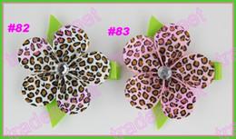 "free shipping popular 140pcs 2"" petal flower clip boutique girl hair bows ribbon hair clips"
