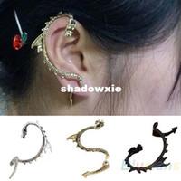 Wholesale Women Gothic Punk Game of Thrones Dragon Ear Cuff Stud Earring Black Silver Bronze
