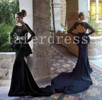 Cheap Hot Sale 2014 Scoop Glitz Backless Black Lace Evening Dresses With long lace Sleeves peplum Mermaid Dresses Chapel Train Evening Gown 0120