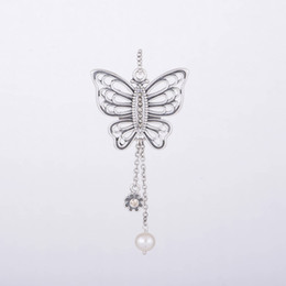 Wholesale Authentic Sterling Silver Love Takes Flight Butterfly Pendant with Champagne and Freshwater Pearl Fits European Pandora Necklaces