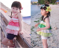 Cheap 2014 Children Clothing Set FRILLS Gallus Cake Dress + Hot Shorts 2pcs Girl Casual Sets Baby Kids Suit Summer Wear QZ574