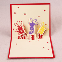 Wholesale 3D Giftboxes Happy Birthday Handmade Creative Pop UP Birthday Greeting amp Gift Card With Star Cutout set of