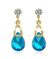 Wholesale New fashion wedding Jewelry K gold plated Austrian crystal drop earring gift for women ladie s Top quality E882