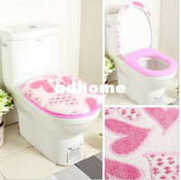 Wholesale Super soft coral fleece toilet set thickening of the toilet piece set toilet seats toilet set toilet cover set o ring
