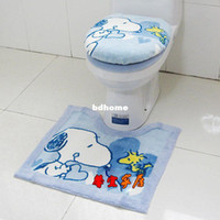 Wholesale Toilet SNOOPY three piece set zuopianqi ring slip resistant mats toilet cover set