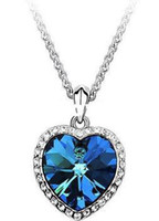 Wholesale Min order is mix order amp Ocean Heart Titanic Necklace Pendant for Women Charms Blue Heart Sweater Chain N460