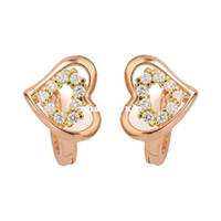 Wholesale Women s K Rose Gold amp K Gold Plated Double Hearts CT Brilliant Cut Grade AAA Cubic Zircon Diamond Earring