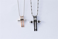 metal cross - Fashion chunky titanium steel crystal stones couple cross pendant necklace lovers rock metal cross necklace jewelry for Valentine Day