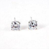 Wholesale Platinum Plated amp Prongs MM CT Round Brilliant Cut Grade AAA Cubic Zircon Diamond Stud Earring