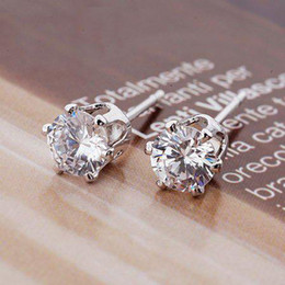 Wholesale Ladies Crown Style Platinum Plated amp Prongs MM CT Brilliant Cut Grade AAA Cubic Zircon Diamond Stud Earring
