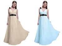 Cheap New Dresses Aqua V-neck Ruffle Backless Chiffon A-line Formal Dresses Evening Dress Prom Gown 2014 with Black Sash DL132000625