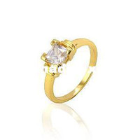Cheap Wholesale - Free Shipping!!! Ladies' 24K Real Gold Plated & 1.2 CT Princess Cut Grade AAA CZ Diamond Engagement Ring (111221-16)