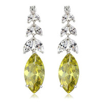 Wholesale Women s quot Ears of Rice quot Platinum Plated amp CT Brilliant Cut Grade AAA Cubic Zircon Diamond Wedding Earring Apple Green