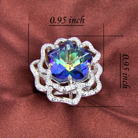 Wholesale fashion jewelry silver mystic topaz latest flower rings R0186