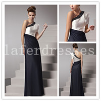 Wholesale 2014 Gorgeous Evening Gowns Black and White Backless Sheath One Shoulder Juliet Short Sleeve Mother Of The Bride Dresses Shining Beads
