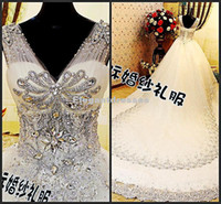 Cheap Customized Ball Gown V-neck Luxury Fashion 2014 Crystal Long Train Wedding Dresses Bridal Gowns Real Sample Free Shipping xj-470