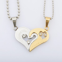 Wholesale Fashion crystal rhinestone titanium steel puzzle half hearts pendant necklace lovers couple heart necklace jewelry for Valentine Day SP00236