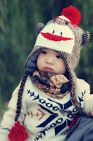 Wholesale New style Boys Girls animal Hats monkey Modelling of the hat winter Ear protection keep warm Baby Caps Children Cap TS275