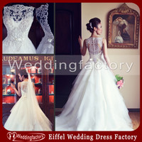 Wholesale Latest Wedding Gown Designs A Line Bateau Sleeveless Embroidery Beaded Embellished Bodice Bridal Dresses with Crystals and Bows