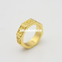 Wholesale New fashion jewelry K gold plated Carving finger rings for women girl Min order is mix different item R820