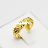 Wholesale New fashion jewelry K gold plated print flower finger rings for women girl Min order is mix different item R821