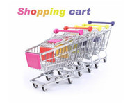 Wholesale Novelty Cute Cart Mobile Phone Holder Pen Holder Mini Supermarket Handcart Shopping Utility Cart Phone Holder
