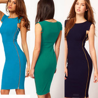 Wholesale 2014 elegant Women Side Zipper Business OL Wear to Work Fitted Bodycon Stretch Casual Wiggle Pencil Dress BTY563