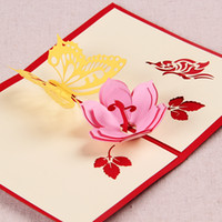 pop up greeting card - Butterfly Flower Handmade Origami D Pop UP Greeting Cards in Red Blue