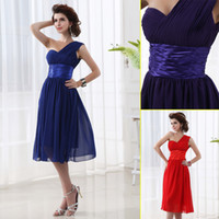 Model Pictures Ribbon Sleeveless Simple Princess Pleated One Shoulder Corset Short Bridesmaid Dress Chiffon Knee Length Sheath Zipper In Stock Prom Dresses Gowns 2014 New 1