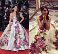 Reference Images Golden Globe Awards Strapless 2014 Red Carpet Celebrity Dresses Sexy Strapless Sonam Kapoor Cannes Film Festival Myriam fares Backless Print Flowers Evening Gowns BO3084