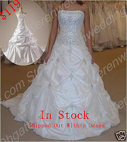 Wholesale 2014 In Stock Cheap Beads Strapless A Line Draped Satin Court Train Lace Up Sleeveless Wedding Dresses For Bride SIZE