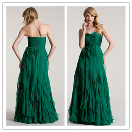 Wholesale QM Fast Delivery Cheap Bridesmaid Dress Sexy Sweetheart Neck Ruched Corset Empire Waist Long Tiered Lime Green Maid Of Honor Dresses