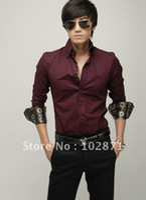 Cheap Free Shipping 2013 Mens Slim fit silk Stylish Dress long Sleeve Shirts Mens dress shirts casual shirt