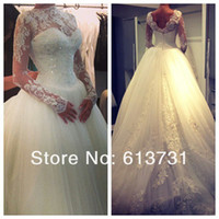 long sleeve ball gowns - 2014 Sexy Sheer Lace Long Sleeves Ball Gown Wedding Dresses Tulle Applique Crystals High Neck Empire Waist Vintage Bridal Gowns BO3930