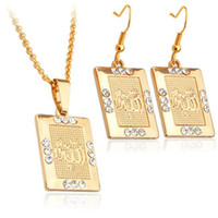 Wholesale Fashion Islamic Allah Jewelry Sets K Real Gold Plated Rhinestone Crystal Necklace Earrings Set For Women VS642