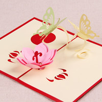 Wholesale Love Theme The Creative Butterflies With Flower Handmade Pop UP Birthday amp Gift Greeting Card set of